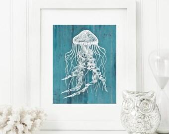 Jellyfish Art Print, Rustic Art, Nautical Art, Rustic Wood 'Look' 5x7, 8X10, 11x14 Jelly Fish, Beach Decor, Nautical Wall Art, Wall Decor