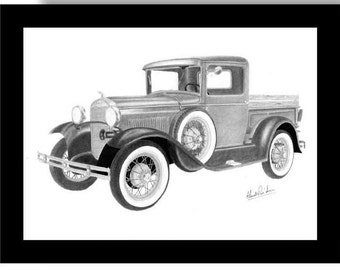 Print of a pencil drawing of a 1930 Ford Model A Truck