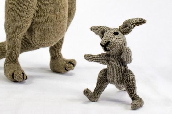 Toy Kangaroo Knitting Pattern : KNITTING PATTERN, Kangaroo Knitting Pattern, Toy Knitting Pattern, Australian...