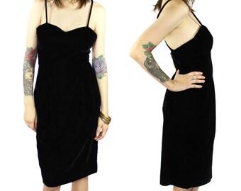 Black Velvet Dress - Vintage Little Black Dress