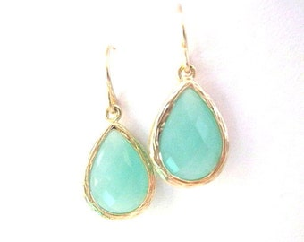 Mint Aqua Chalcedony Aquamarine Glass Tear drop Gold Earrings, Bridal Earrrings, Wedding Jewelry, Bridesmaids Gifts