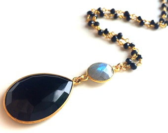 Black Onyx and Labradorite Gold Necklace, Black Onyx Teardrop Necklace, Labradorite and Spinel ChainRondelle Chain
