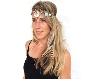 BURNING Man hair chain,Yoga Hair band,Feather headband,Feather Hair dress,Boho,Hippie,Gypsy,Festival head chain,hair chain