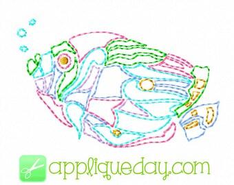 Fish Colorwork, Linework, Redwork, Digital Embroidery Design Instant Download