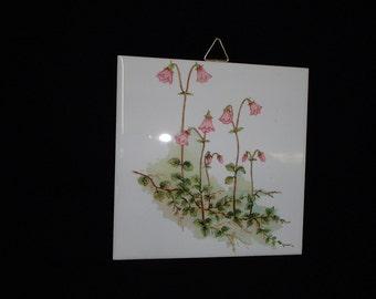Swedish Linnea Flowers Ceramic Tile ~ Trivet ~ Hot pad #298