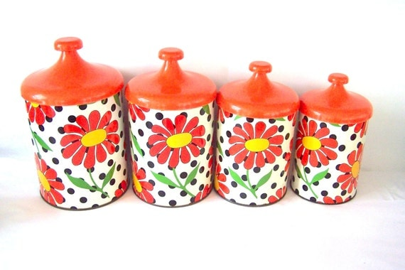 lincoln beautyware orange floral canister set 70s kitchen