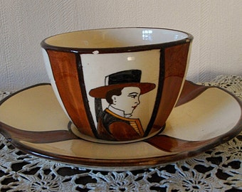 "Beautiful "" Petit- Déjeuner "" , large cup tee with saucer ,  Signed "" HB QUIMPER ""Circa 1940-1950"