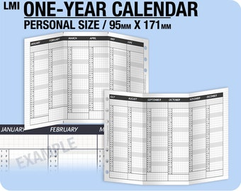 2018 / 1-year Calendar / PERSONAL - Inserts Refills Filofax Binder Collins