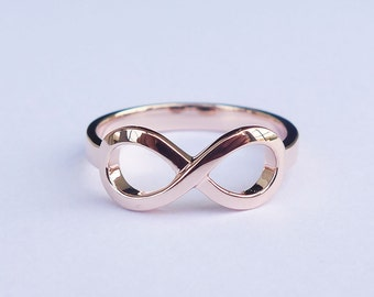 Solid 18K Rose Gold Infinity Ring