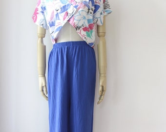 Klein blue high waist pants. Electric blue trousers. 90s wide leg pants. Blue high waist trousers