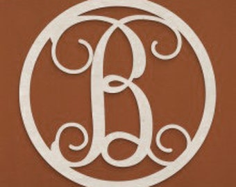 Wooden Single Letter with Circle Border, Wooden Letters, Wooden Monogram Home Decor, Door Wreath, Wall Art
