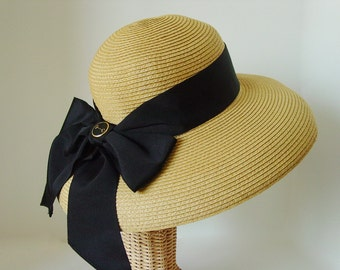Snaffle Bit Accent Luxurious Toyo Lampshade Straw Hat with Wide Black Ribbon - Italian Made Black Enamel Gold Bit Button