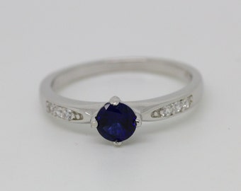 ON SALE! Genuine Blue sapphire solitaire ring - available in white gold o sterling silver - engagement ring - wedding ring
