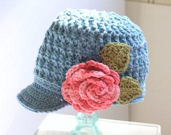 Hat | Accessory | Newsboy Hat | Cotton Crochet | Brimmed Hat | Childrens | Kids Hats | Summer | Newsboy | Cotton Crochet | Boutique Kids