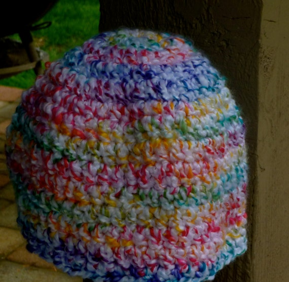 ... base multi color Loose stitch crochet beanie hat BlueBear on Etsy