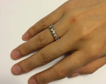 Vintage sterling silver crystal CZ ring, 925 silver ring, size 6
