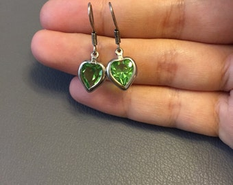 Vintage sterling silver earrings, Mexico 925 silver with heart shaped peridot drops