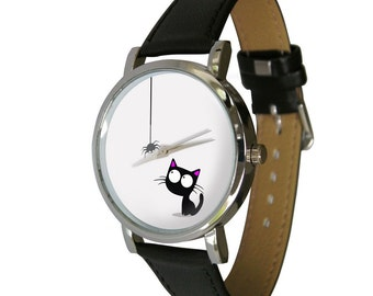 Cute cat and spider design wristwatch - Black and White image - Cat Lovers - Cat Gift - mens watch - womans watch