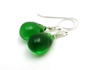 Kelly green glass earrings,  sterling silver Czech glass jewelry, bright green drop earrings, emerald green drop, May birthstone alternative