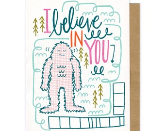 yeti love, bigfoot card, Sasquatch print, encouraging card, Fathers Day Card, Dad, Step-Dad, Grandpa Card, Fathers Day Card, For Dad, Father