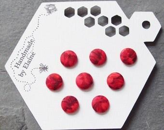 Fabric Covered Buttons - 8 x 11mm buttons, handmade button, red button, petal flower button, carnation button, scarlet floral button, 1410