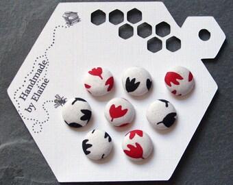 Fabric Covered Buttons - 8 x 14mm buttons, handmade button, tulip buttons, red buttons, black buttons, white buttons, flower buttons, 1541