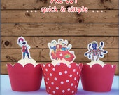 12x  wiggles EDIBLE cupcake cake toppers PRE-CUT stand up  birthday,