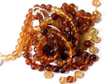 "Hessonite  Beads , Size 5 mm Approx ,14"" - 1 Strand, Cut beads, Round Shape"