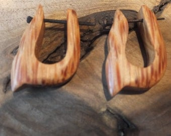 Carved Wood Tribal Earrings
