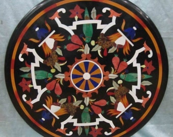 Round Coffee table Black marble Inlay sofa tables pietra dura glyptic Florentine mosaic Handmade 60 cms x 60cms