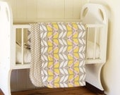 Organic Cotton Baby Blanket, Cot Blanket in Modern Grey and Yellow flowers + dots in GOTS Certified Organic Cotton reversible blanket