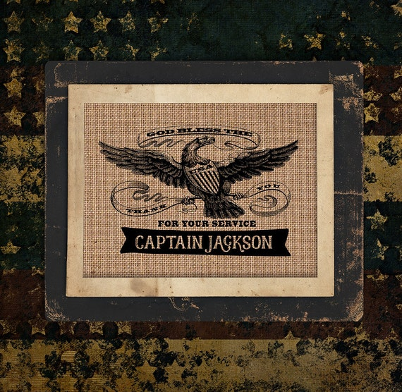Patriotic | Thank You for Your Service | Military Eagle | Burlap Print | Personalized | USA |  #0120