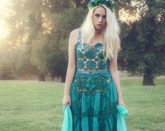 Hand-made Aquamarine Crochet Lace Fairy Dress