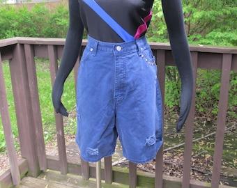 High Waisted Denim Shorts, Studded Distressed Jean Shorts, Studded Navy Shorts, Long Denim Shorts, Hipster Shorts, Grunge Fashions, Size 16