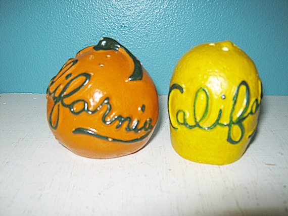 Salt And Pepper Shakers Novelty California Lemon And Orange