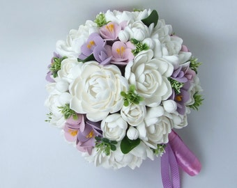 Clay wedding bouquet and boutonniere set, Bridal bouquet, White tuberoses and Violet freesias , Natural look bouquet