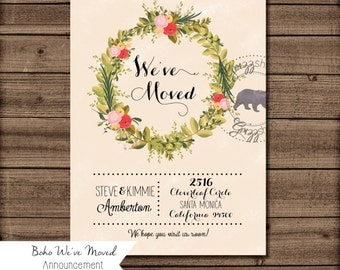 Boho Wreath We've Moved Announcement