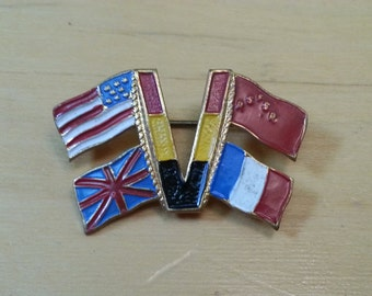 "WWII ""V for Victory"" Belgian Flag Pin"