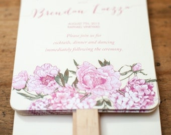 Peony Theme Wedding Program Fans, order of service fans, wedding programs, wedding program fans, custom designed to match