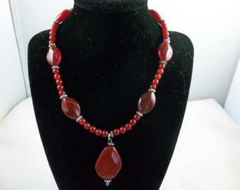 Ruby Red Beaded Necklace
