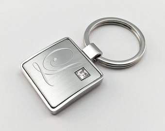 Personalized Keychain with Cubic Zirconia, Free Engraving, Monogrammed Keyholder, Ladies Key Chain, Custom Keyring