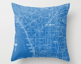 Los Angeles Throw Pillow - Street Map - retro - Blue and white, Hollywood, Beverly Hills,  decor, travel, lapis,blue, den, dorm, bedroom