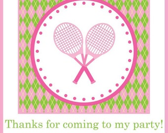 Pink and Green Tennis Favor Tags