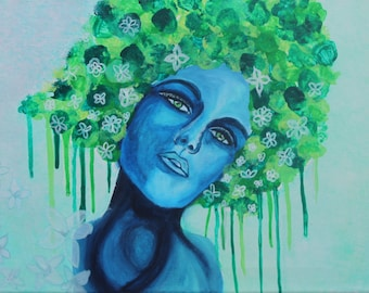 Giclee PRINT 5x7 Blue Lady Portrait Acrylic Painting Portrait Bold Green Graffiti Afro Hair Woman Art Abstract Contemporary Wall Art