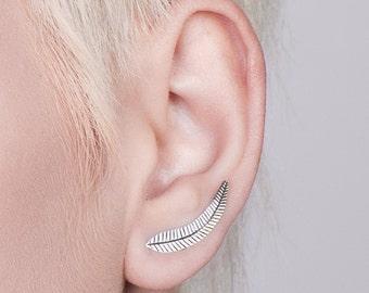 Silver Fern Ear Climbers Stud Earrings Climbing Earrings