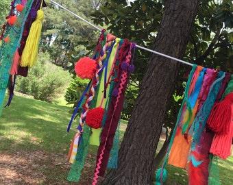 Tribal Boho Tassel Pom Pom Garland Banner Valance….dreamcatcher glamping inspired