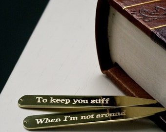 Custom Secret Message Collar Stays - Gold - Romantic Gift - Cheeky - Gift For The Groom - Valentine's - Best Man - FREE UK DELIVERY!