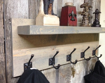 READY TO SHIP Coat Rack, Modern Rustic Industrial Entryway Coat Rack with Floating Shelf, Hat Rack, Shelf, Key Holder