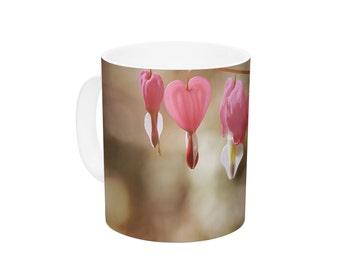 "Ceramic Coffee Mug - Angie Turner ""Bleeding Hearts"" Pink Flower - Great Gift!"