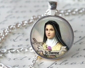 ST THERESE Necklace Religious Medal Saint Pendant Necklace Art St Therese Pendant Jewelry Necklace religious necklace Religious pendant